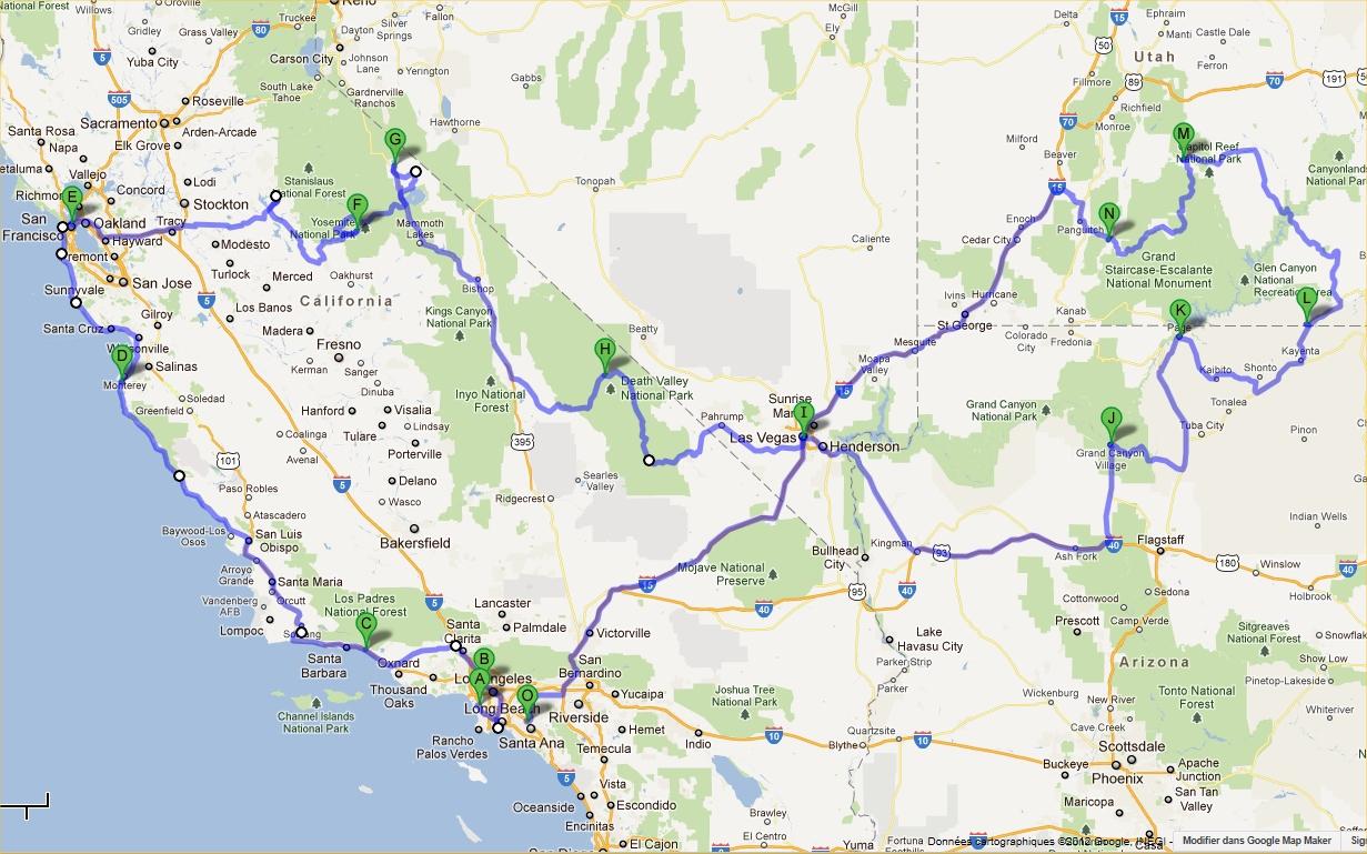 Carte Etats Unis Ouest.Ouest